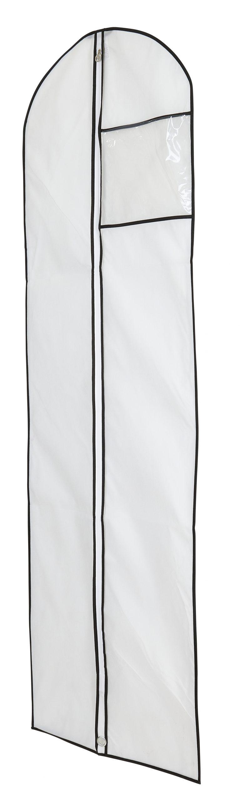 קאבר לשמלות כלה ארוך לבן שול שחור