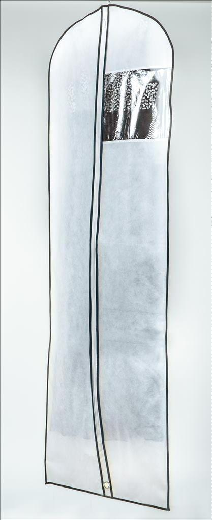 קאבר לשמלות כלה ארוך לבן שול שחור עבה